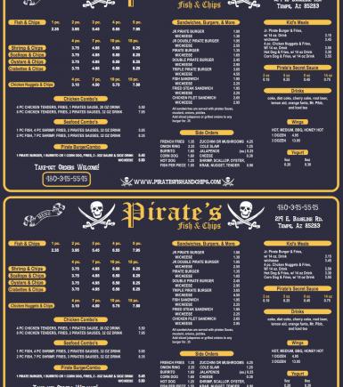 Pirates Menu